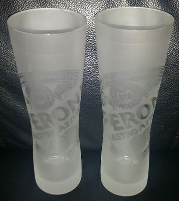 Pair Of Rare Collectable Peroni Nastro Azzurro 300Ml Frosted Beer Glasses New