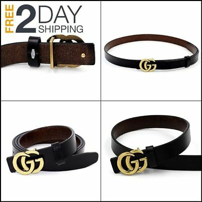 Womens Genuine Leather Thin Belts With Fashion Letter Buckle For Jeans 0.9″ Wide