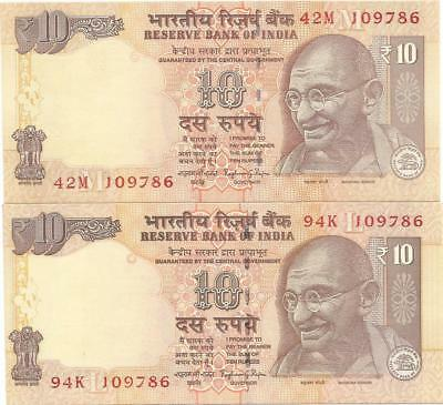 India  10 Rs. (47N And 61L 109786) 2 Notes