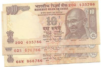 India 10 Rs.n0.20Q435786,02S 678786 And 66M 868786) 3 Notes