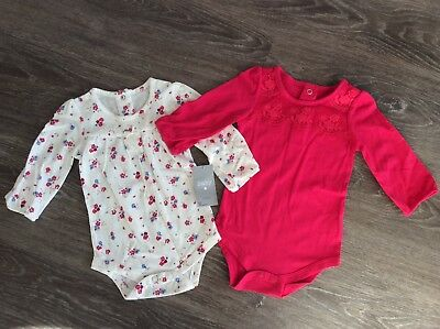 BNWT Pretty Baby Girls Long Sleeved Vests 3-6 Months By Matalan