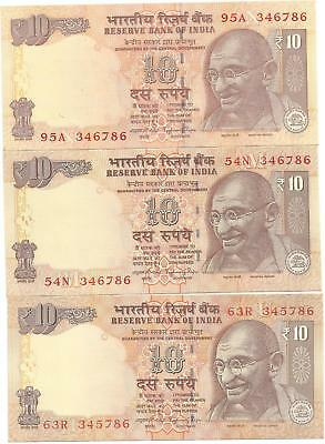 India 10 Rs.n0.63R345786, 54N 346786 And 95A 346786