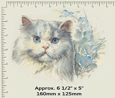 1 x Waterslide ceramic decal Cat face. Animal. Watercolour flowers. PD960