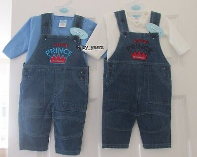Baby Boy Soft Denim Dungarees & Long Sleeved Top Little Prince Boys Outfit Set