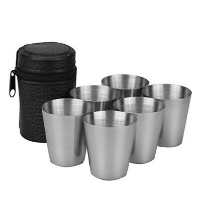 Set of 6 Compact Travel Stainless Steel Shot Glasses with Leather Effect Case