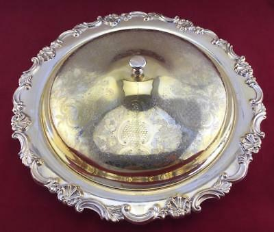 Silverplate Covered Tray with Glass Divided Dish Insert Sheffield Reproduction