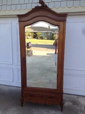 Antique  French Wood Armoire Carved Top Beveled Mirror