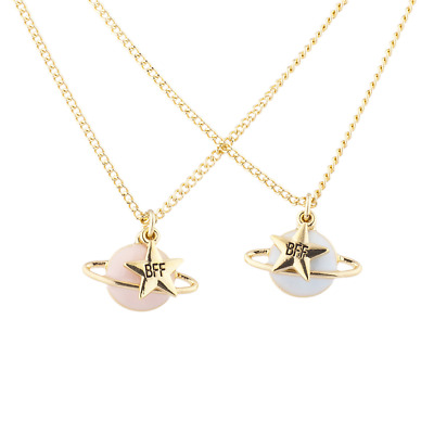 Lux Accessories Gold Tone Enamel Planet Saturn Star BFF Best Friend Necklaces