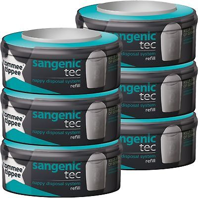 6 x Tommee Tippee Sangenic Tec Nappy Disposal System Refill Cartridge Cassettes