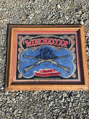 """Winchester Repeating Arms Advertising Mirror Model 1873 Rifle 23.5"""" x19.5"""" Frame"""