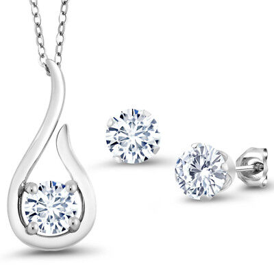 """1.65 Ct White Created Moissanite 925 Silver Pendant Earrings Set with 18"""" Chain"""