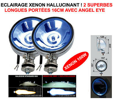 Promo! 2 Super Phares 16Cm Chrome Xenon Angel Eye! Land Pajero Patrol Jeep Hdj