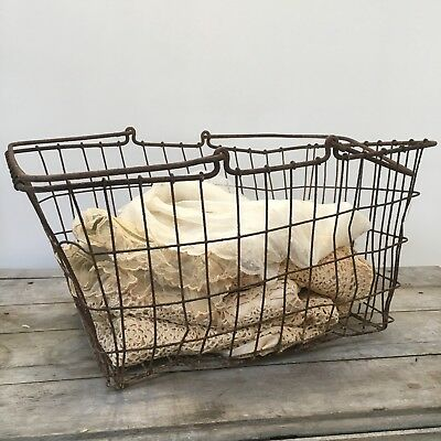 LARGE Vintage Primitive Grocery Store Wire Metal Shopping Basket Antique Old
