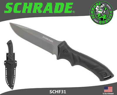Schrade Fixed Knife Full Tang 8Cr13MoV Carbon Steel TPE Handle Sheath SCHF31