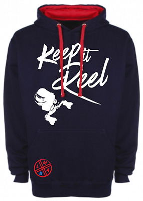 "Kapuzenpullover für Angler - ""Keep it Reel"" (Blau / Rot)"