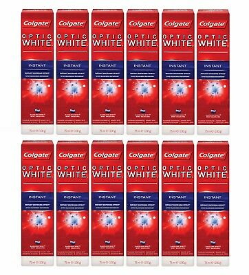 12 x Colgate OPTIC WHITE INSTANT Dazzling Mint Toothpaste 75ml (100g) Whitening