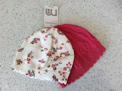 BNWT Baby Girls 2 Pack Of Hats By Mothercare 3-6 Months