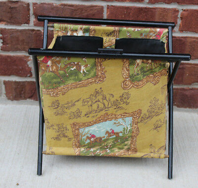 Vtg Hunting Wood Folding Sewing Knitting Basket Yarn Fabric Standing Caddy Tote