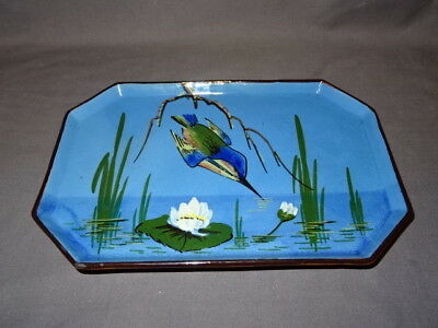 Attractive Vintage Babbacombe Pottery King Fisher Vanity Tray