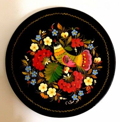 Vintage Hand Painted Decorative Folk Art Plate Wall Hanging from Bulgaria Signed
