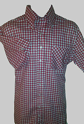NEW! L MODERNACTION Red Gingham Shirt Skinhead Mod Motorhead Chelsea UK Subs