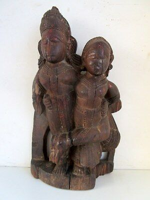1850's Antique Old Hand Carved Wooden Hindu God Krishna With Wife Figure Statue