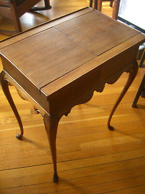 Antique New England Cherry wood Queen Anne Tea Table w/Hideaway Drawer c.19c