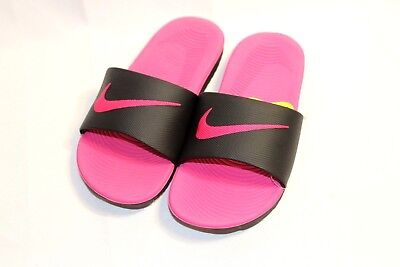 New Girls/Kids Nike Kawa pink/black cushioned slide sandals