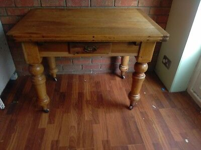 Antique victorian pine draw leaf table