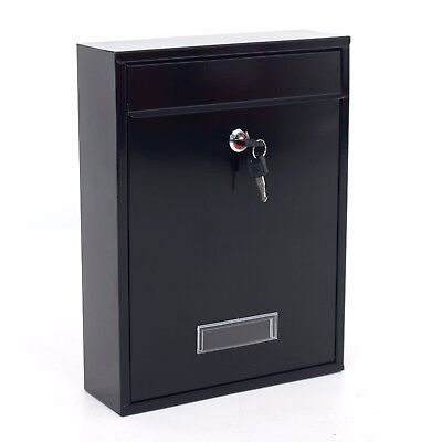 Black Lockable Wall Mounted Letter Post Mail Box Large Postbox Letterbox Mailbox