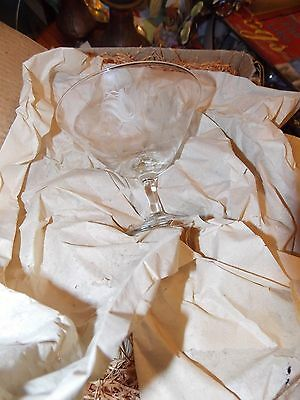 Antique 12 Rosenthal  Etched Flower  Champagne Glasses NIB