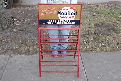 "Vintage 1957 Mobil Mobiloil Gas Station 2 Sided 39"" Metal Sign Oil Can Display"