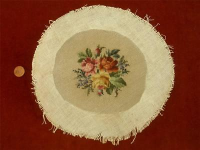 REFINED HANDMADE Antique Vtg PETIT POINT MICRO NEEDLEPOINT EMBROIDERY TAPESTRY