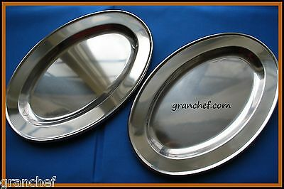 "Serving Platters 2 pieces ~ 12"" Polished Stainless ~ New!  Great for Caterers"