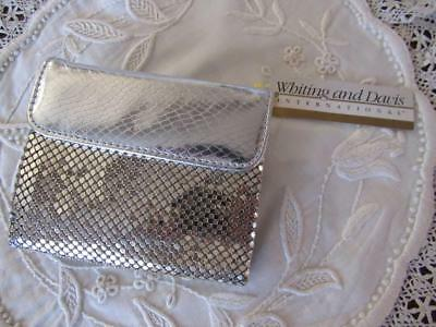 WHITING & DAVIS Silver Metal Mesh Leather Wallet Kiss Lock Tag
