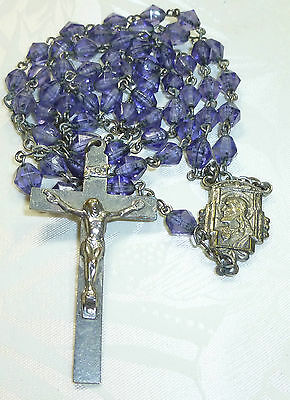 Vintage Antique Catholic Blue Glass Rosary Sacred Heart Of Jesus Religious Medal