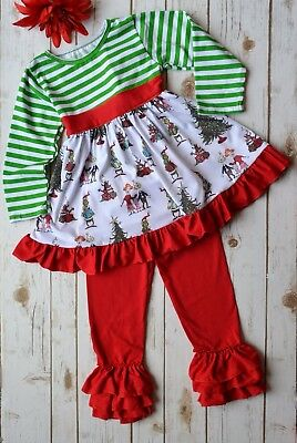 NEW The Grinch Boutique Custom Christmas 2-Pce Dress Ruffle Pant Set Red Green