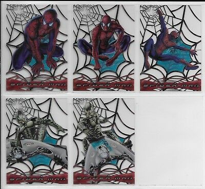 Topps 2002 Spiderman Movie WEB SHOOTER CLEAR Complete INSERT CHASE CARD Set C1-5