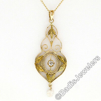 Antique Art Deco Large 14K Gold Diamond Pearl Etched Filigree Lavaliere Pendant