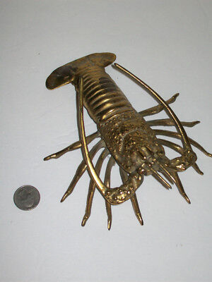 Vtg Solid Brass Lobster Figurine Wall Hanging Crawfish Shellfish Nautical Ocean