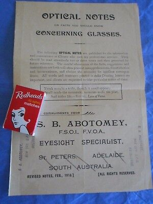 1916 Optical notes. 4 pages fr Optician S Abotomey SA & Melbourne eyes; glasses