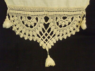 Antique Unbleached Linen Towel/table Runner Hand Crocheted Lace