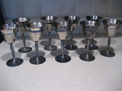 Homan Plate Goblets on Nickel Silver WM Mounts Set 9 Cups 01151 1/2 Shannon USA