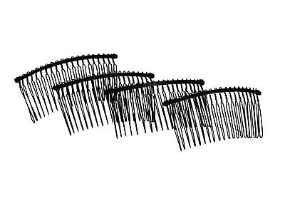 "Metal Twisted Wire Comb for Veils and Headpieces 3"" wide  Four Pieces - Black"