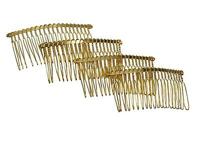 "Metal Twisted Wire Comb for Veils and Headpieces 3"" wide  Four Pieces - Gold"
