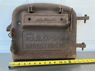 Antique SEARS INDESTRUCTO  Stove Door Panel Cast Iron Parlor Pot Belly