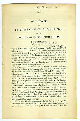 Oct 1852 District of Natal, South Africa, Present State & Prospects, 12 Pages