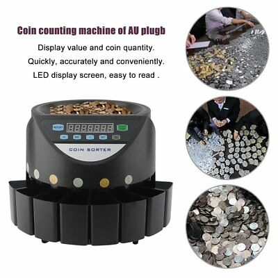 High Speed Electronic Coin Sorter AU Plug Coin Counting Machine Easy Operation G