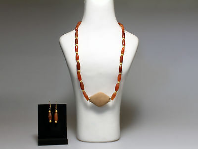 Near Eastern Carnelian Necklace with Earrings