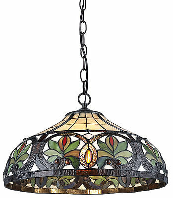 """Tiffany Style Sunrise Hanging Lamp Stained Glass 16"""" Shade Handcrafted"""